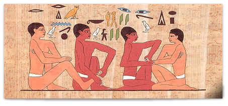 Peinture égyptienne évoquant les possibles débuts de la réflexologie.